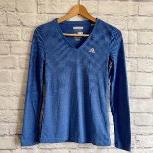 ADIDAS Long Sleeve Blue Activewear Top T-Shirt Tee